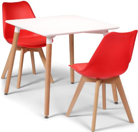 Toulouse Tulip Eiffel Designer Dining Set White Square Table & 2 Red Chairs Sale Now On Your Price Furniture